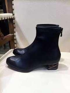 全新]日本jellybeans短靴M號-23-23.5/36/37復古氣質簡約黑色粗跟拼接跟鞋牛津鞋