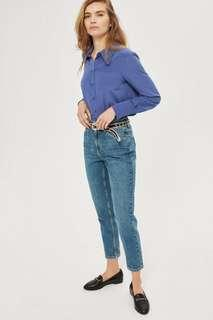 BNWT Topshop mom jeans in blue green