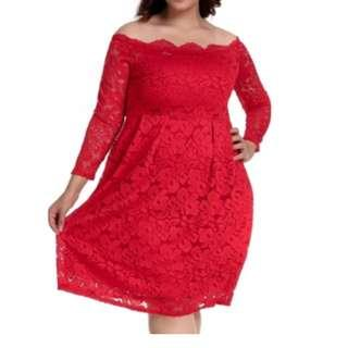 CELLY (2-5XL) Plus Size Long Sleeve Fashion Red Lace Midi Dress (CSOH R80500-4P)