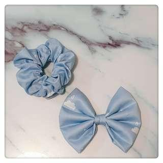 Handmade dog bow tie + matching scrunchies for pawrent
