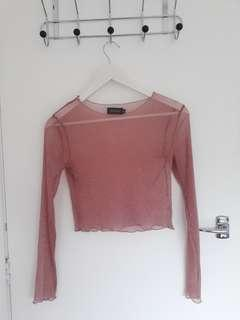 Sparkly mesh cropped long sleeve