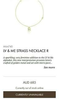 Genuine Louis Vuitton Signature 'LV and Me Strauss Necklace' with 'R' Pendant