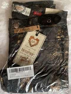 Boohoo Molly Snakeskin Print Skinny Jeans, size 8