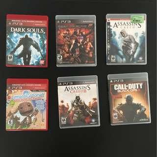 6x PS3 Video Games (Dark Souls, Assassin's Creed 1-2, Call of Duty Black Ops III, DOA5, Little Big Planet)