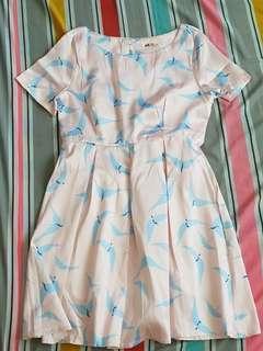 Sparrow print satin dress