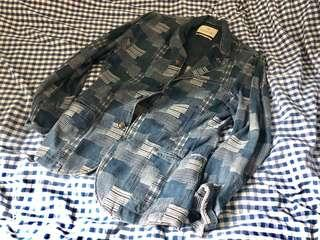 Scotch and Soda denim patchwork pattern jacket suit fdmtl