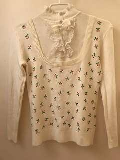 White Frilly Sweater