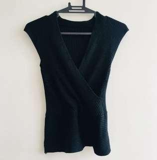 Black knitted sexy blouse