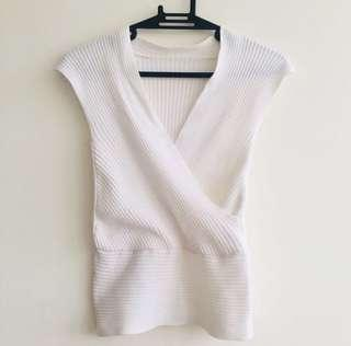 White knitted sexy blouse