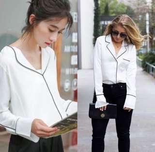 White pajama style top