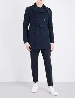 Sandro Navy Blue Cotton Trench Coat