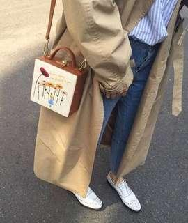 代購high cheeks包包Alice in wonderland 奇幻仙境 愛麗絲與小雛菊異材質拼接小方包-米
