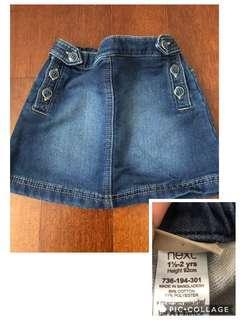 Rok jeans denim anak perempuan next baby 1.5-2y