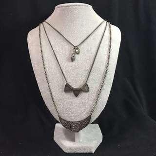3 in 1 necklace black silver