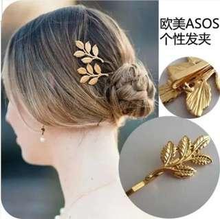 🚚 🆕️ golden leave hair pin