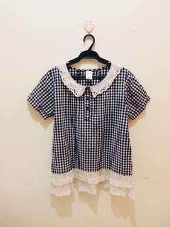 Lace-Checkered office Blouse