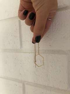 thread drop gold hexagon earrings