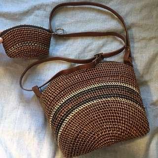 Vintage strap bag & coin bag set!!!