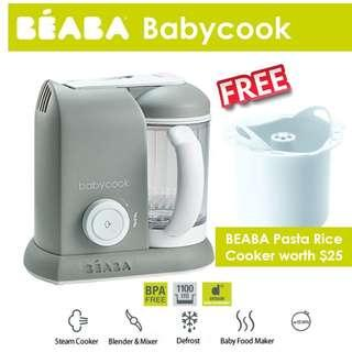 [April Sales] Brand New & Authentic BEABA Babycook 4 in 1 Steam Cooker and Blender (Cloud/Grey Colour) with FREE BEABA Pasta Rice Cooker Worth $25!