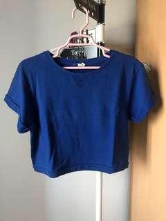 F21 Semi Crop Top Blue