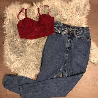 Levi's denim mom jeans red bustier