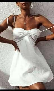 White flowy front knot dress
