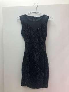 🚚 黑亮片短洋裝