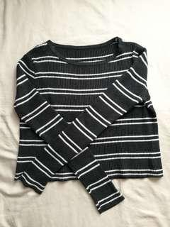 Comfy cropped stripe sweater korean