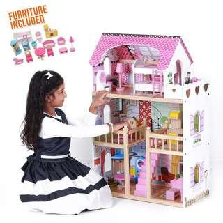 Wooden Dollhouse 90cm with miniature furniture
