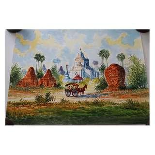 Canvas watercolor painting of ancient city (Bagan) from Burma Myanmar.