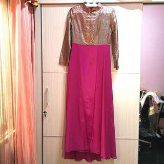 Dress Kaftan Pink Mtoif Batik - Preloved