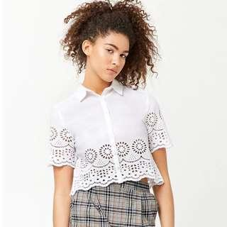 Forever 21 Scallop Eeyelet Top