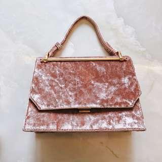 🚚 Charles & Keith pink velvet bag