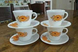 Cup And Saucer Pyrex Sunflower
