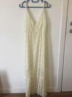 White lace beach maxi dress