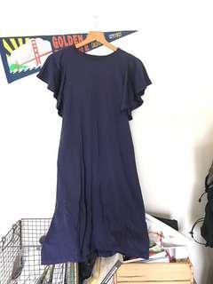 🚚 Uniqlo Bra top 荷葉袖洋裝 深藍
