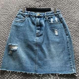 KOOKAI Ripped Denim Skirt