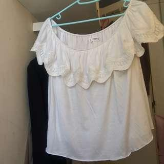 Mango off the shoulder white top