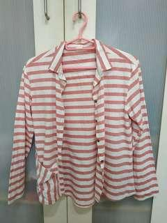 🚚 Zara girls thin white pink striped long sleeved shirt collared