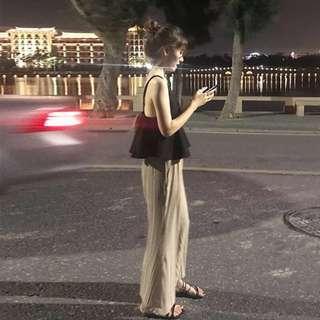 🚚 2019夏裝新款顯瘦姐妹洋氣網紅法式兩件套針織兩件套褲裝套裝