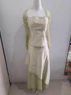 Gaun Dress Pesta Hijau Bunga