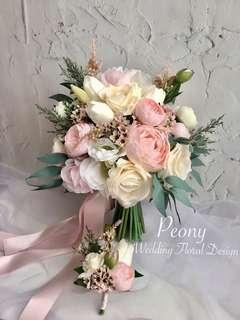 [Like facebook 10%OFF]PeonyWedding: 10-12吋絲花花球Package [訂造款]