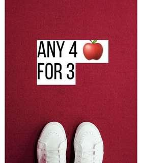 ANY 4 🍎 for 3*