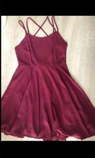 Cross back maroon dress