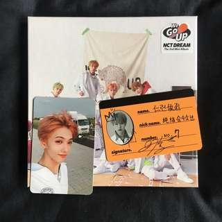 NCT Dream We Go Up album with Jisung photocard and Renjun Crew card