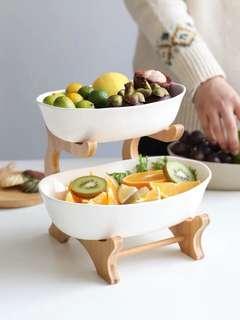 日式陶瓷水果碗竹架雙層果籃果盆果盤創意水果碗W-83。粗陶與白色兩款。