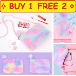 ⭐Buy 1 free 2 ⭐ Fluffy Rainbow Fur Colored Cute Crossbody Mini Leather Girl Handbag