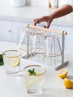 日式金邊錘目紋玻璃杯家用水杯茶杯杯杯架6個套裝