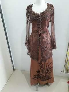 Gaun Dress Pesta Kebaya Coklat Mewah
