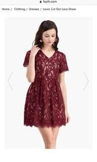 Laura cut out lace dress in burgundy/nude